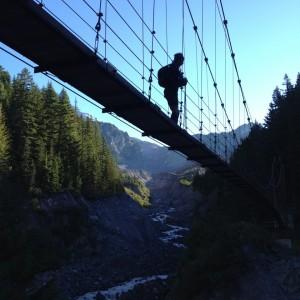 suspension bridge over Tahoma Creek