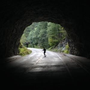 Crossing a road near Box Canyon