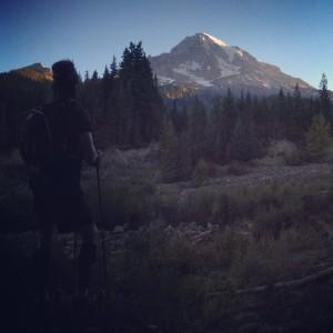 The sun rising behind Mt. Rainier