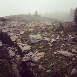 Climbing the ridge through the fog.
