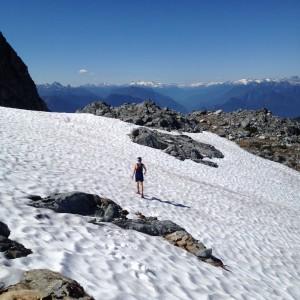 Matt crossing the snowfield