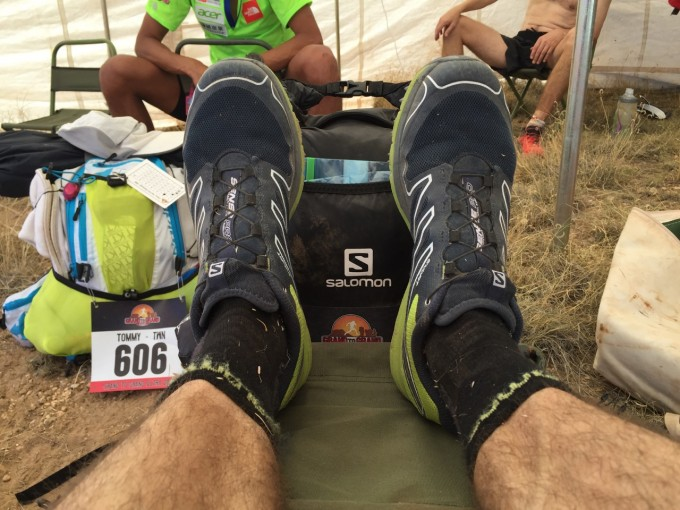 Putting my Feet up after Stage 1.