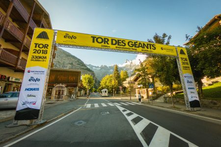 Start line of Tor Des Geants in Courmayeur